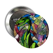 """Mystic Dragon in Stained Glass 2.25"""" Button (100 p"""