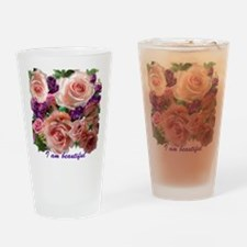 Pink Roses & purple flowers Drinking Glass