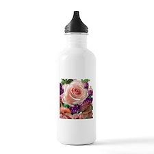Pink Roses & purple flowers Sports Water Bottle