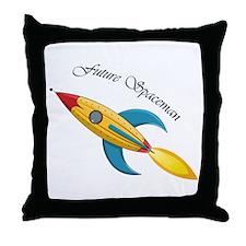 Future Spaceman Rocket Ship Throw Pillow
