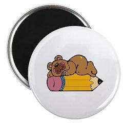 Teddy Bear Sleeping on Pencil Magnet