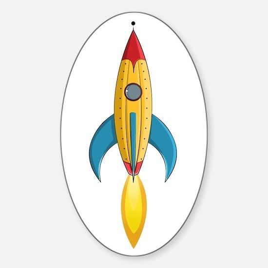 Rocket Ship Sticker (Oval)