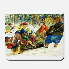 Christmas Yule Log in Animal Land Mousepad