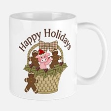 Christmas Pig and Gingerbread Men Mug