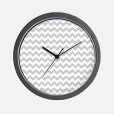 Gray and White Chevron Wall Clock