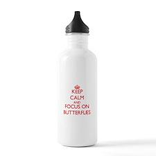 Keep calm and focus on Butterflies Water Bottle