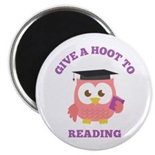Give a hoot to reading with pink owl Magnets