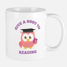 Give a hoot to reading with pink owl Mugs