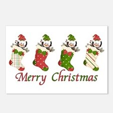 Penguin Christmas Stockings Postcards (Package of