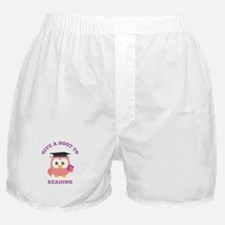 Give a hoot to reading with pink owl Boxer Shorts