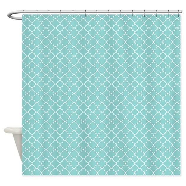 Teal quatrefoil shower curtain by thechicboutique85 for Quatrefoil bathroom decor