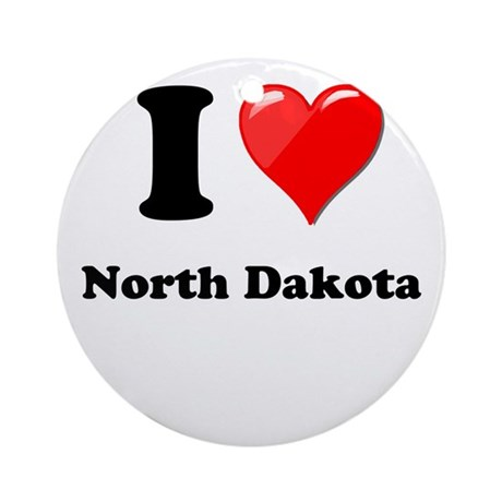 I Love North Dakota Ornament (Round)