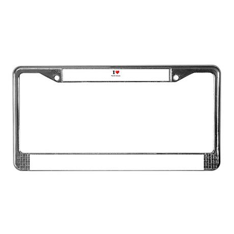 I Love North Dakota License Plate Frame