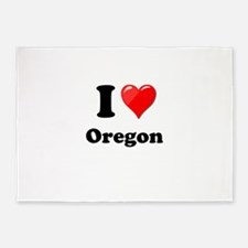 I Love Oregon 5'x7'Area Rug