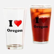 I Love Oregon Drinking Glass
