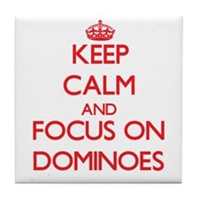 Keep calm and focus on Dominoes Tile Coaster