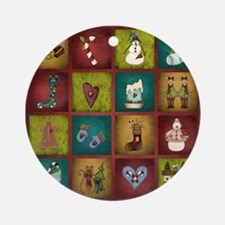 CHRISTMAS CRAZY QUILT Round Ornament