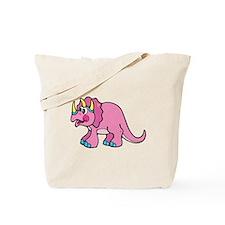 Cute Pink Triceratops Dino Tote Bag