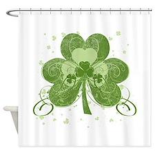 Swirly Shamrock Shower Curtain