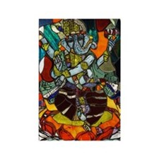 Stained Glass Ganesh Rectangle Magnet