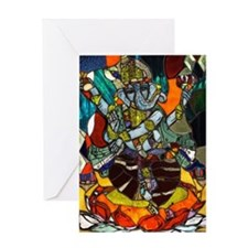 Stained Glass Ganesh Greeting Card