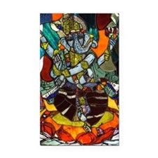 Stained Glass Ganesh Rectangle Car Magnet