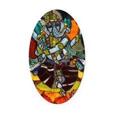 Stained Glass Ganesh Oval Car Magnet