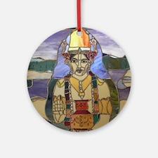 Stained Glass Dhanvantari Round Ornament