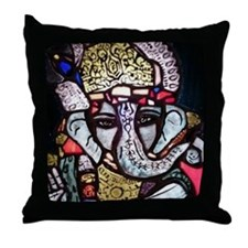Ganesh Stained Glass Panel Throw Pillow