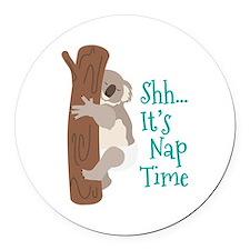 Shh... Its Nap Time Round Car Magnet