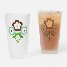Mint Brown Flowers Drinking Glass