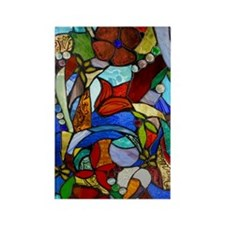 Alicias Garden Window Stained Gla Rectangle Magnet