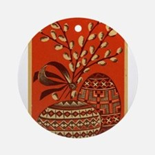 Vintage Russian Easter Card Ornament (Round)