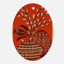 Vintage Russian Easter Card Ornament (Oval)