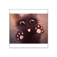 "Cute Cat Square Sticker 3"" x 3"""