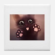 Cute Black kitty Tile Coaster