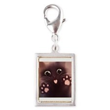Cute Cat Silver Portrait Charm