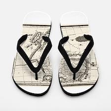 1799 Antique Map Flip Flops
