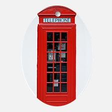 British Phone Box Ornament (Oval)