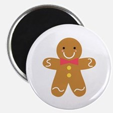 Cute Gingerbread Man with Bow for Christmas Magnet