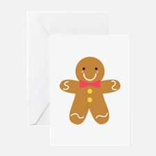 Cute Gingerbread Man with Bow for Christmas Greeti