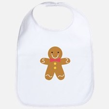 Cute Gingerbread Man with Bow for Christmas Bib
