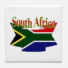 South Africa flag ribbon Tile Coaster