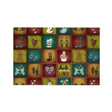 CHRISTMAS CRAZY QUILT Rectangle Magnet