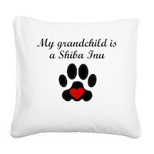 Shiba Inu Grandchild Square Canvas Pillow
