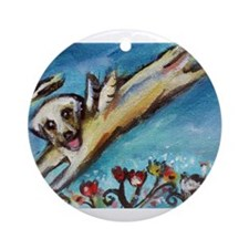 Yellow Labrador angel flys free Ornament (Round)