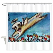 Yellow Labrador angel flys free Shower Curtain