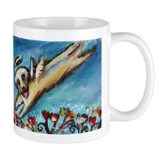 Yellow Labrador angel flys free Mugs