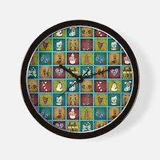 CHRISTMAS CRAZY QUILT Wall Clock