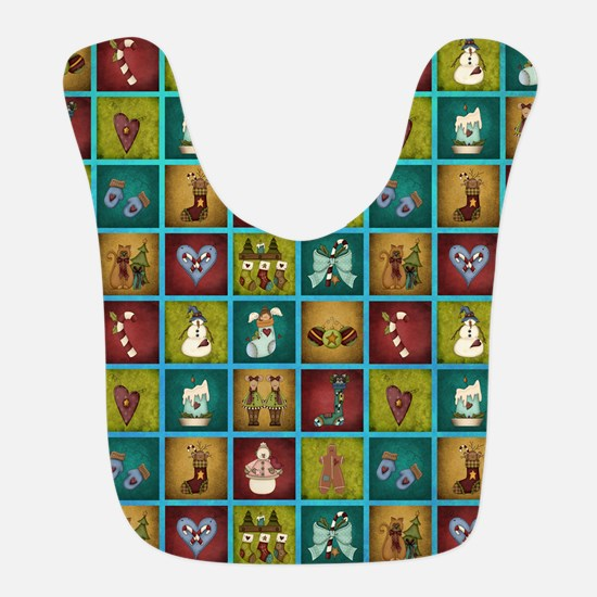CHRISTMAS CRAZY QUILT Bib